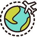 avion faisant le tour du monde